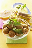Falafel (chick-pea balls) with two dips