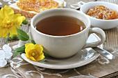 St. John's wort tea with toast and jam