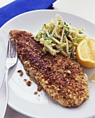 Sole with almond crust and celery salad