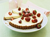 Lime tart with fresh strawberries