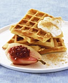 Waffles with cranberry-stuffed pear and cream