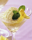 Lemon punch with vanilla ice cream