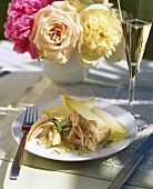 Poached chicken in jelly with tarragon and chicory