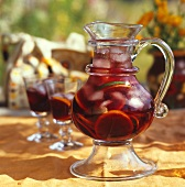 Sangria in glass jug