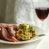 Cooked ham with vegetables