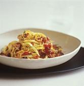 Fettucine with shrimp and tomato confit