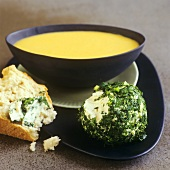Pumpkin and almond soup and herb cheese balls