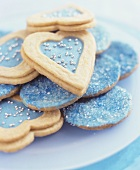 Biscuits with blue sugar and dragees