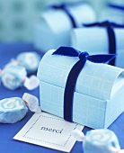 Blue gift boxes for sweets