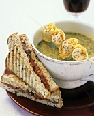 Kale soup with skewered tortellini and tomato sandwich