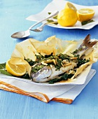 Sea bream with herbs and chard in greaseproof paper