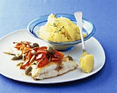 Halibut with tomatoes & capers and mashed potato with orange