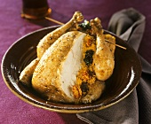 Roast chicken with couscous stuffing