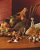 Autumn still life with pheasant and ham