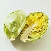 White Cabbage Sliced in Half