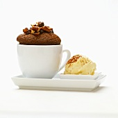 Chocolate pecan muffin with dates and vanilla ice cream