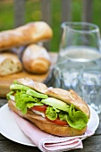 Chicken breast sandwich on a garden table