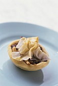 Mincemeat tart with filo pastry topping
