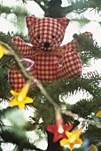 Fabric Teddy in Christmas tree