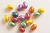 Coloured chocolate eggs