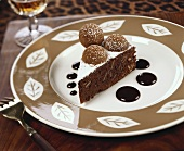 A piece of chocolate nut cake