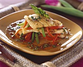 Fried fish fillet with peppers and chermoula