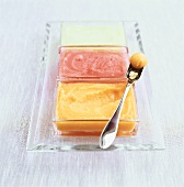 Fruit ice cream in glass dishes