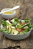 Mixed salad with avocado and mushrooms