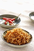 Caramel rice with chillies
