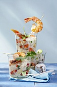 Glass noodle salad with papaya, avocado, tofu and shrimps