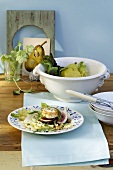 Oak leaf lettuce and pear salad with figs