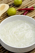 Cooked rice noodles in a dish