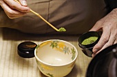 Japanese tea master at tea ceremony