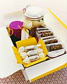 Gift-wrapped ginger caramels and chocolate biscuits