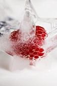 A raspberry ice cube