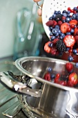 Tipping fresh berries into a pan