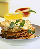 Potato rosti with cheese and peppers