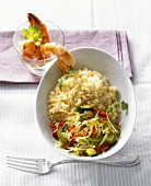 White cabbage with couscous and fried shrimps