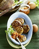 Swede cakes with tomato pesto