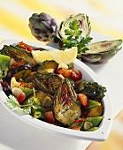 Aubergine salad with artichokes