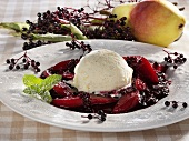 Vanilla ice cream with elderberry and pear compote