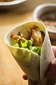 Chicken burrito with lettuce