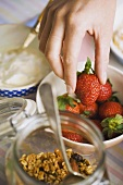 Ingredients for muesli with yoghurt and strawberries