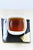 Black tea in Japanese tea bowl
