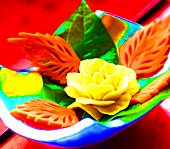 Flowers and leaves carved from vegetables