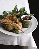 Crispy quail with watercress