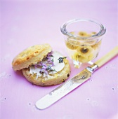 Scone with flower jelly