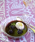 Cold berry soup with lime sorbet