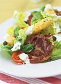 Romaine lettuce with fried belly pork & mozzarella sticks