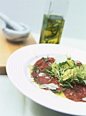 Carpaccio al rosmarino (Raw beef sirloin with rosemary oil)